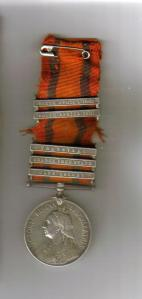 Boer War medal William Stubbings courtesy Kym Stubbings