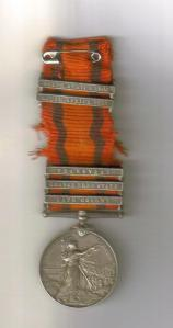 Boer War medal William Stubbings reverse courtesy Kym Stubbings
