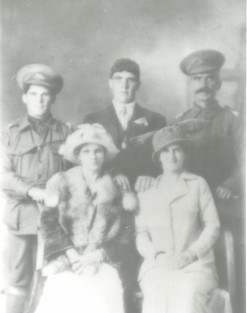 Jerome Locke right with sons Olga left in uniform and Willam