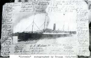 Troopship 'Ceramic' autographed by troops 13 May 1917