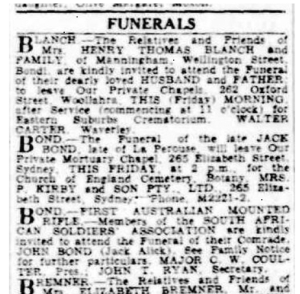 Jack Alick funeral notices 1941