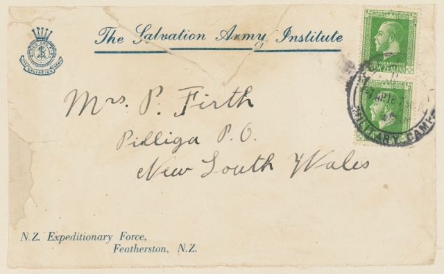 ca firth enveope addressed to  mother
