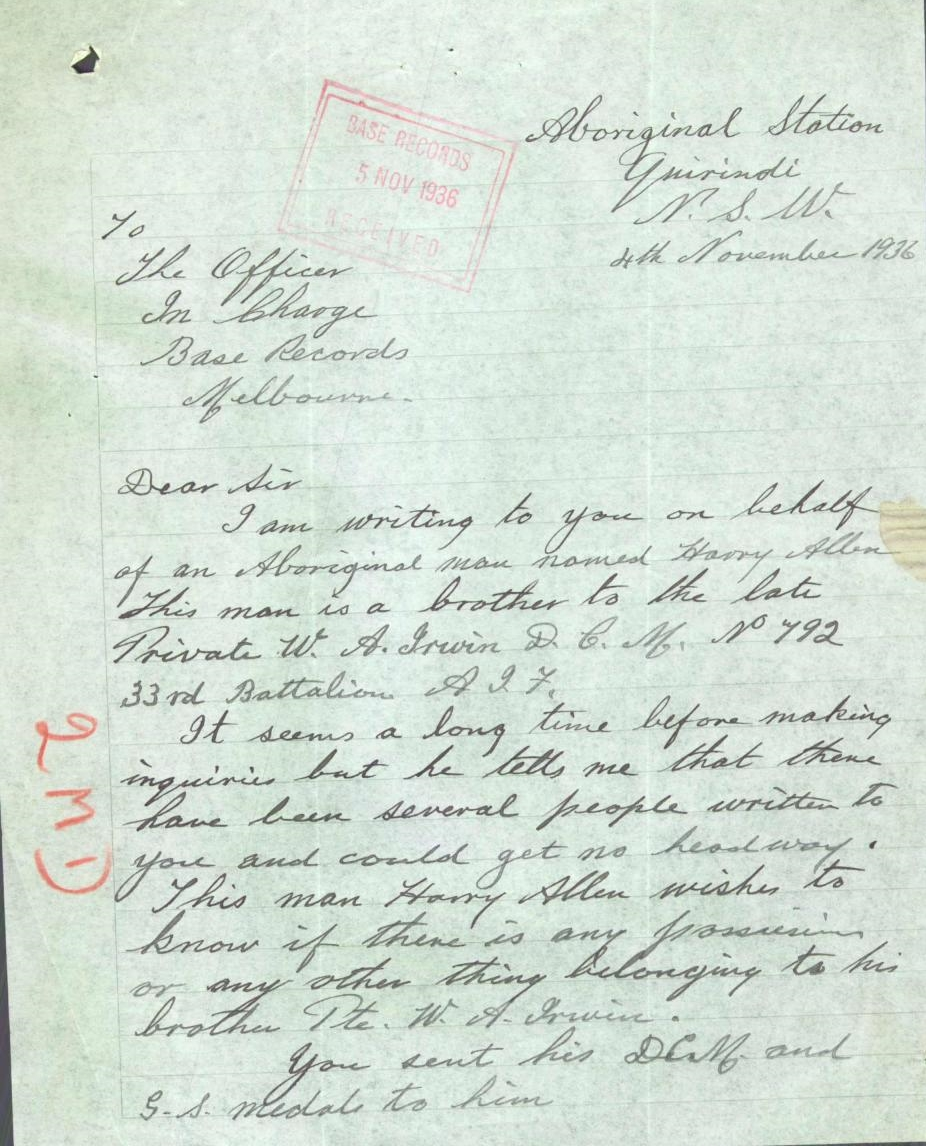 quirindi mission harry allan letter re william irwin crop