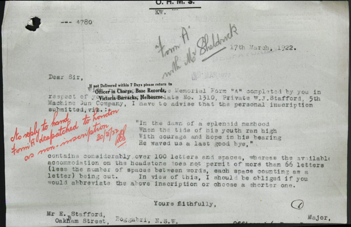 walter james stafford inscrription letter